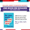 One Book One Boulder So you want to talk about race? by Ijeoma Oluo bookcover